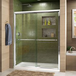DreamLine Duet 36-inch x 48-inch x 74.75-inch Framed Sliding Shower Door in Chrome with Center Drain White Acrylic Base