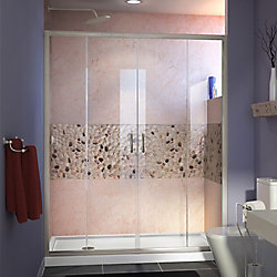 DreamLine Visions 60-inch x 30-inch x 74.75-inch Framed Sliding Shower Door in Brushed Nickel with Left Drain White Acrylic Base
