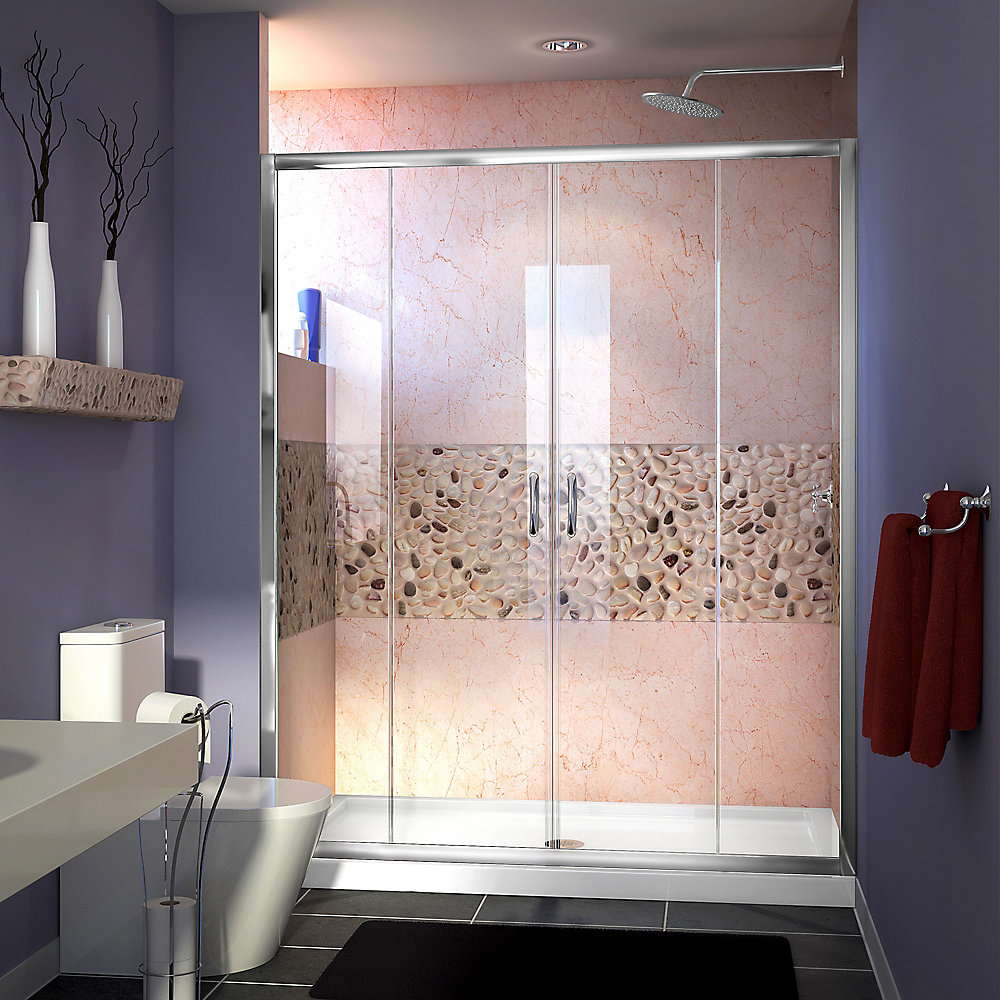Visions 60-inch x 32-inch x 74.75-inch Framed Sliding Shower Door in Chrome with Center Drain White Acrylic Base