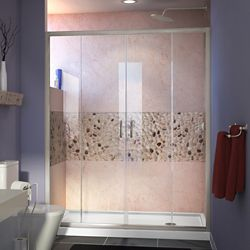 DreamLine Visions 60-inch x 34-inch x 74.75-inch Framed Sliding Shower Door in Brushed Nickel with Right Drain White Acrylic Base