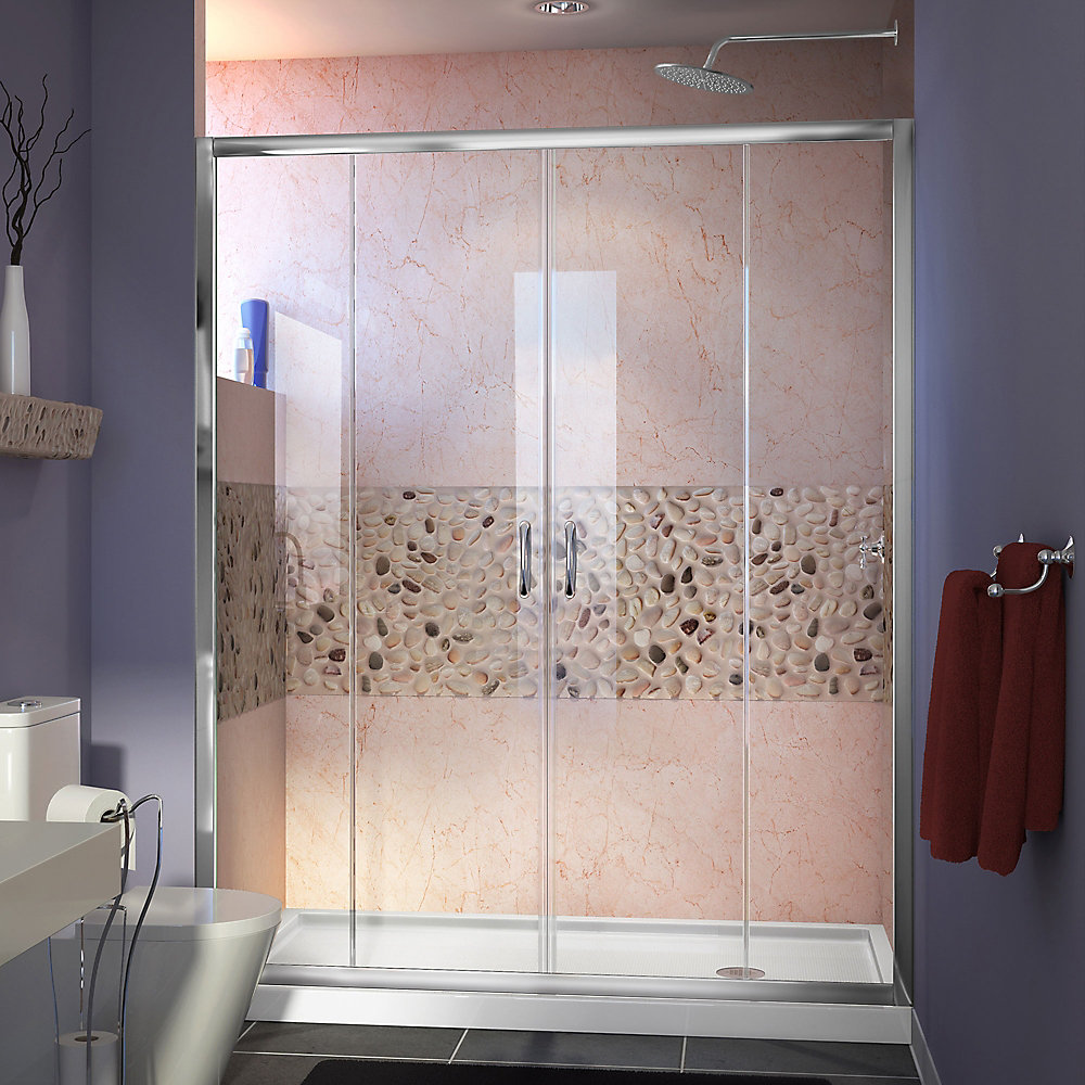 Visions 60-inch x 36-inch x 74.75-inch Framed Sliding Shower Door in Chrome with Right Drain White Acrylic Base