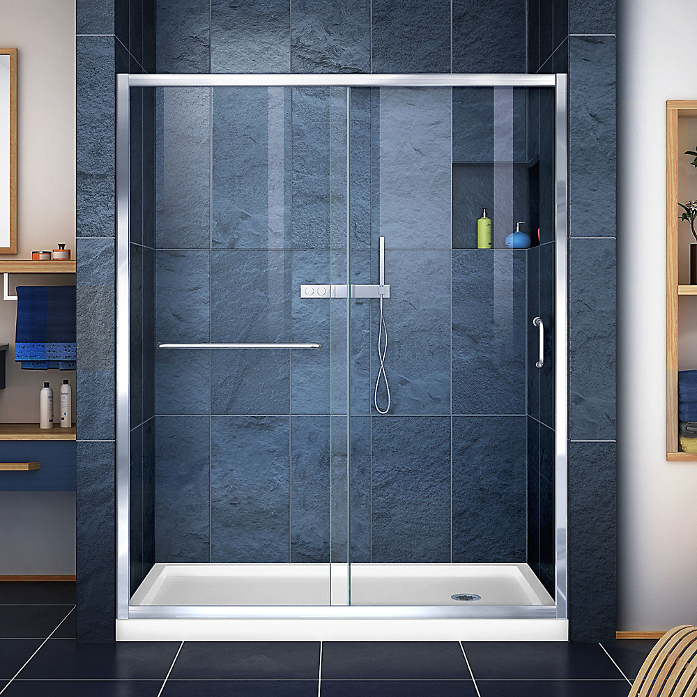 Infinity-Z 30-inch x 60-inch x 74.75-inch Framed Sliding Shower Door in Chrome with Right Drain White Acrylic Base