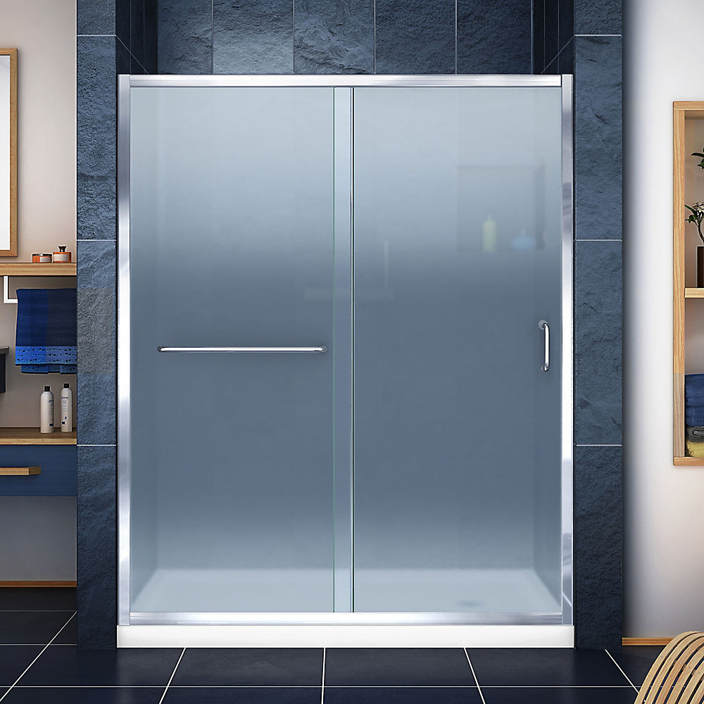 Infinity-Z 32-inch x 60-inch x 74.75-inch Framed Sliding Shower Door in Chrome with Right Drain White Acrylic Base