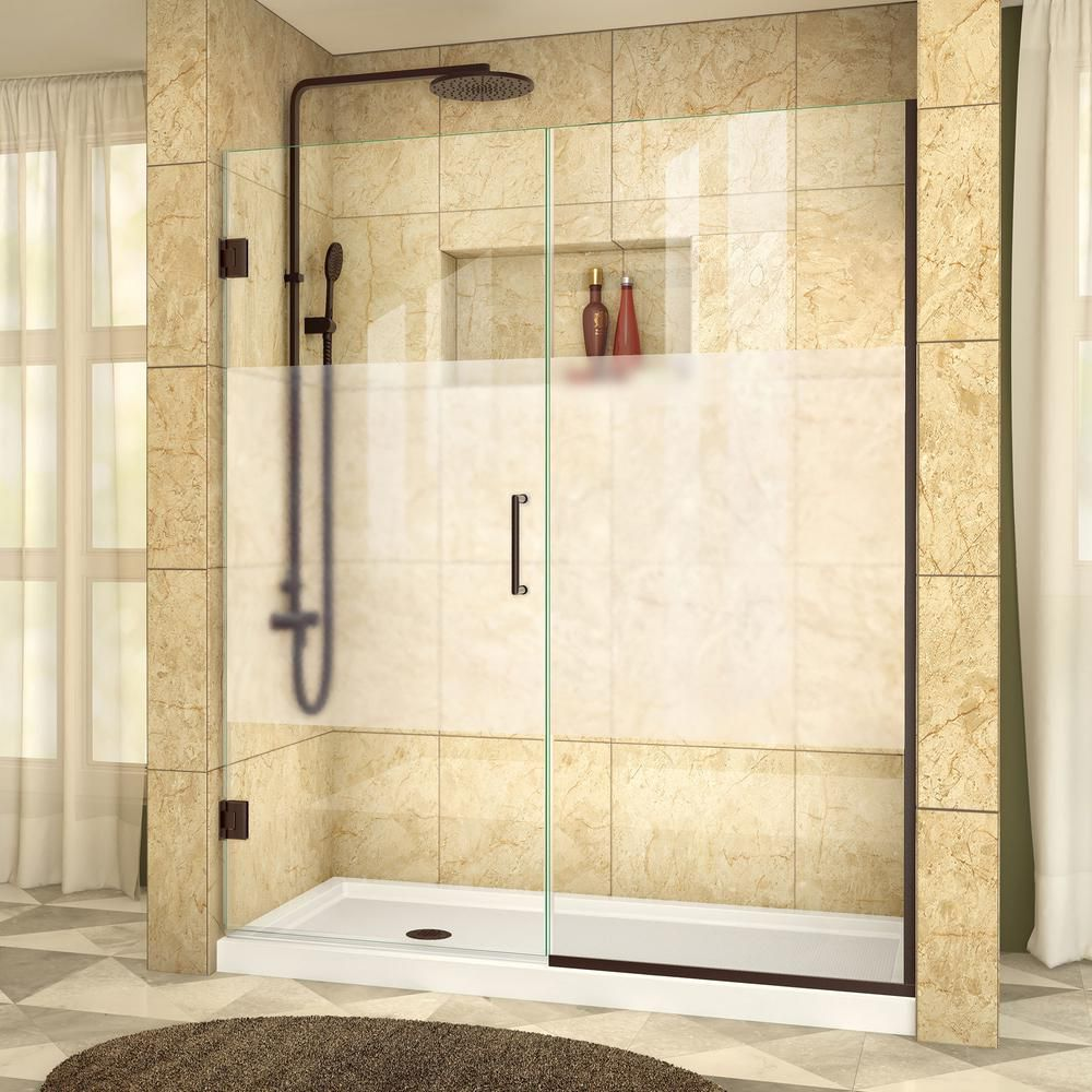 DreamLine Unidoor Plus 55-1/2 to 56-inch x 72-inch Semi-Frameless Hinged Shower Door with Half Frosted Glass in Oil Rubbed Bronze