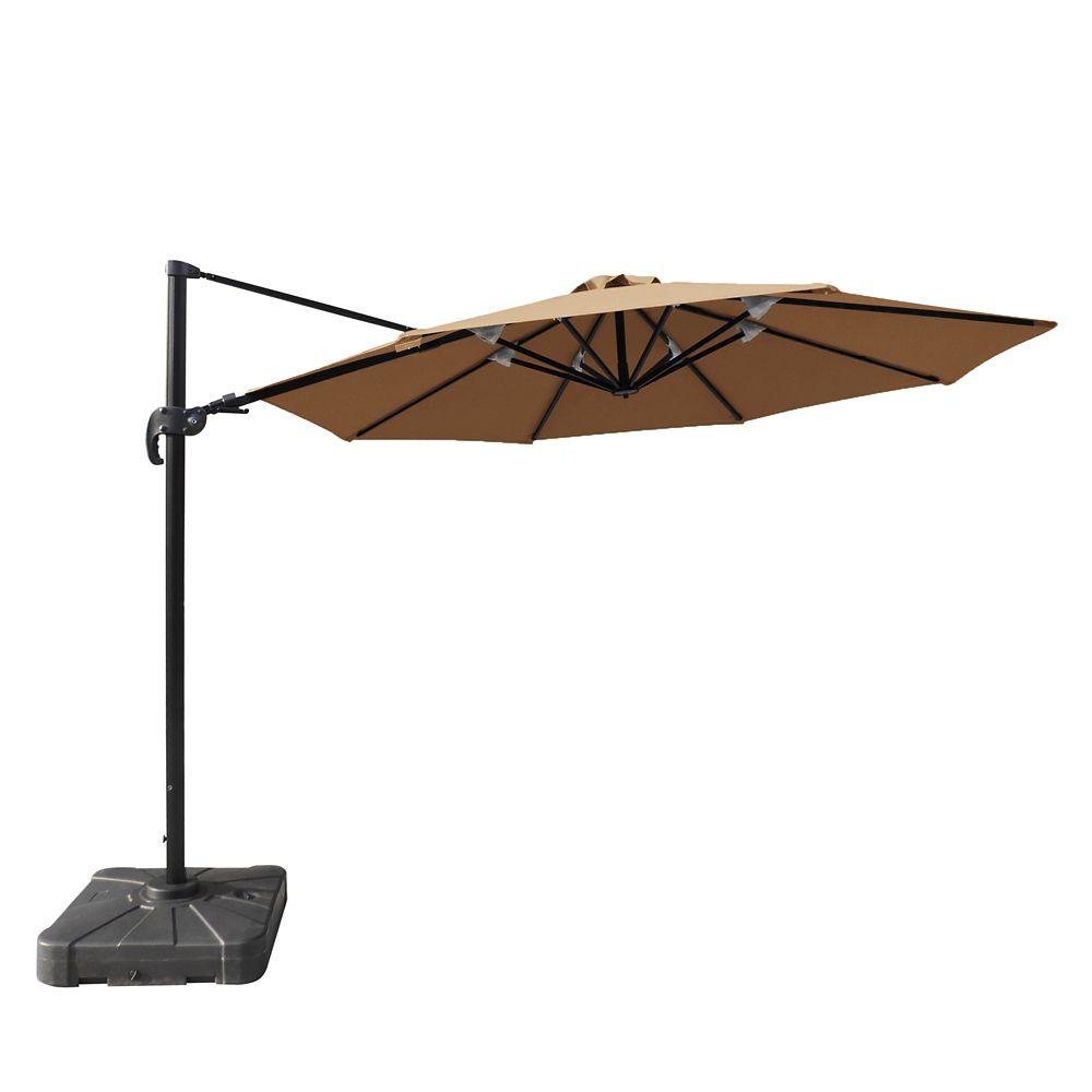 Parasol en porte-à-faux octogonal de 3,36 mètres avec toile acrylique Sunbrella couleur pierre