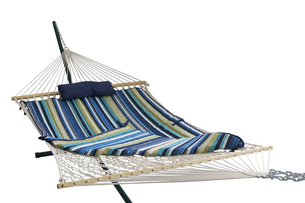 Blue Wave Island Retreat 15 ft. Hammock Set with Blue Cover