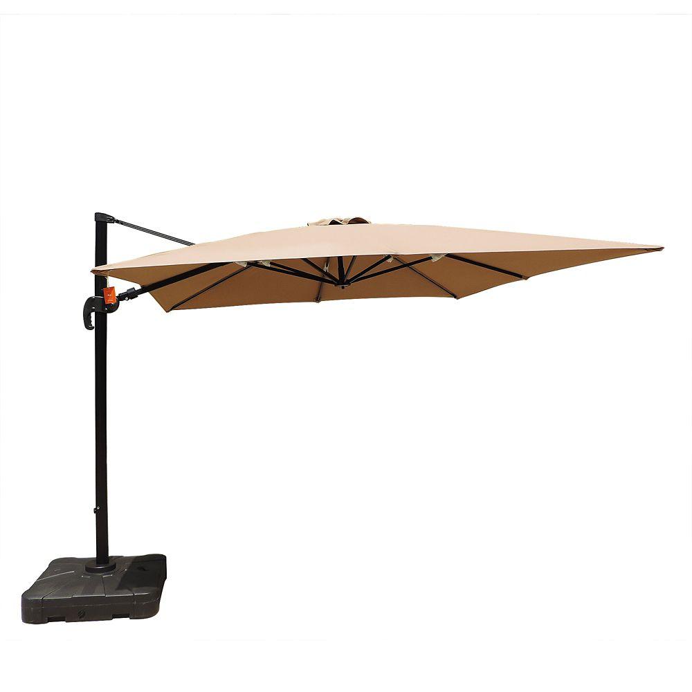 Island Umbrella Santorini II 10 ft. Square Cantilever Sunbrella Acrylic Patio Umbrella in Stone