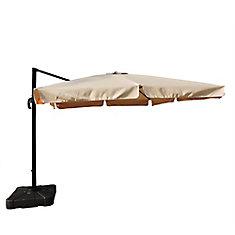 Santorini II 10 ft. Square Cantilever Sunbrella Acrylic Patio Umbrella with Valance in Beige