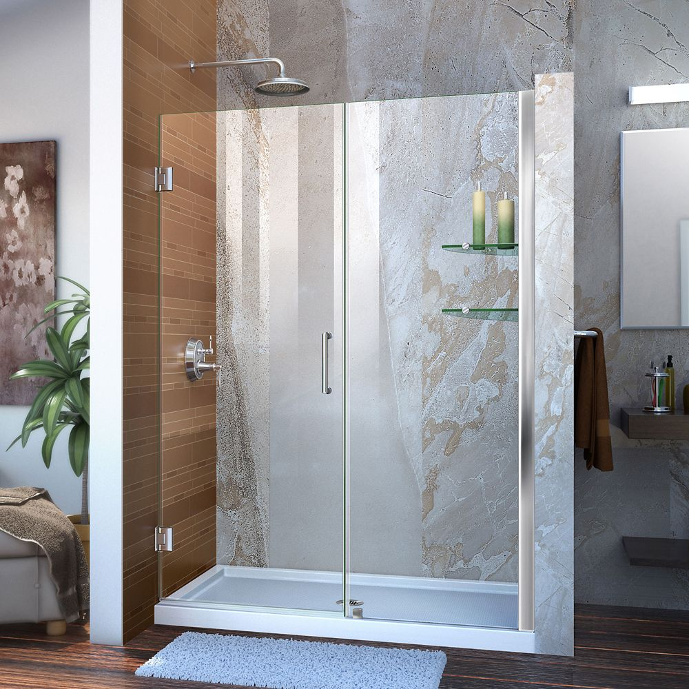 Unidoor 53 to 54-inch x 72-inch Frameless Hinged Pivot Shower Door in Chrome with Handle