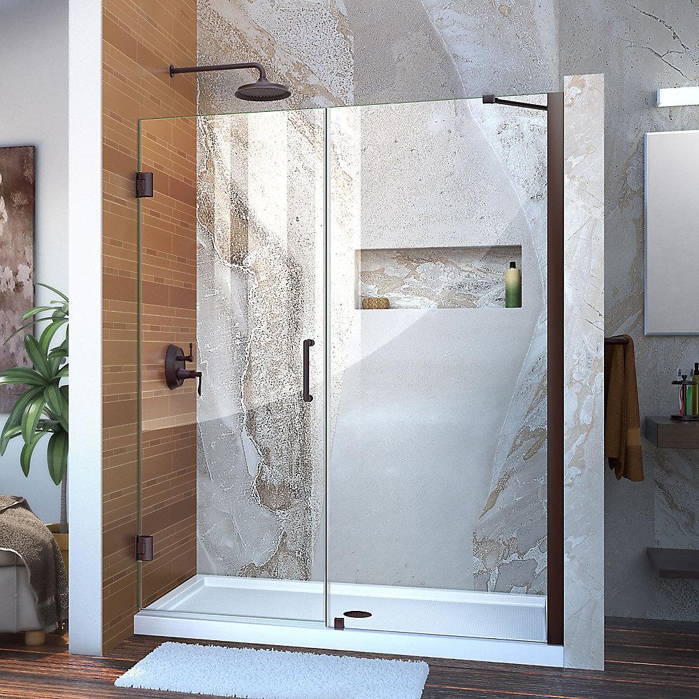 Unidoor 54 to 55-inch x 72-inch Frameless Hinged Pivot Shower Door in Oil Rubbed Bronze with Handle