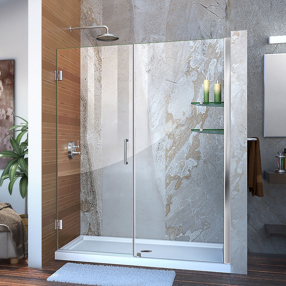 Unidoor 54 to 55-inch x 72-inch Frameless Hinged Pivot Shower Door in Chrome with Handle