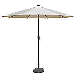 Island Umbrella Mirage Fiesta 9 ft. Market Solar LED Auto-Tilt Patio Umbrella in Champagne Olefin