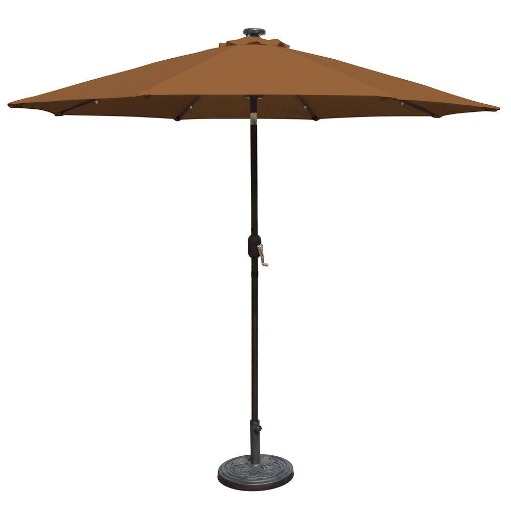 Mirage Fiesta 9-ft Market Solar LED Auto-Tilt Patio Umbrella in Stone Olefin