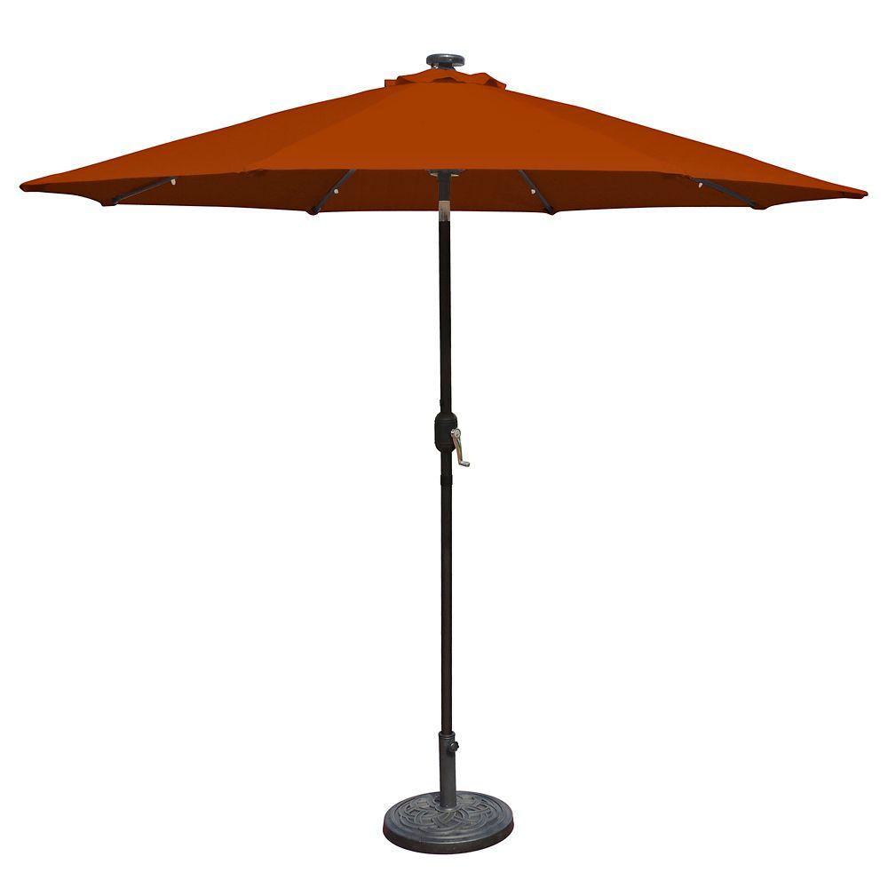 Mirage Fiesta 9-ft Market Solar LED Auto-Tilt Patio Umbrella in Terra Cotta Olefin