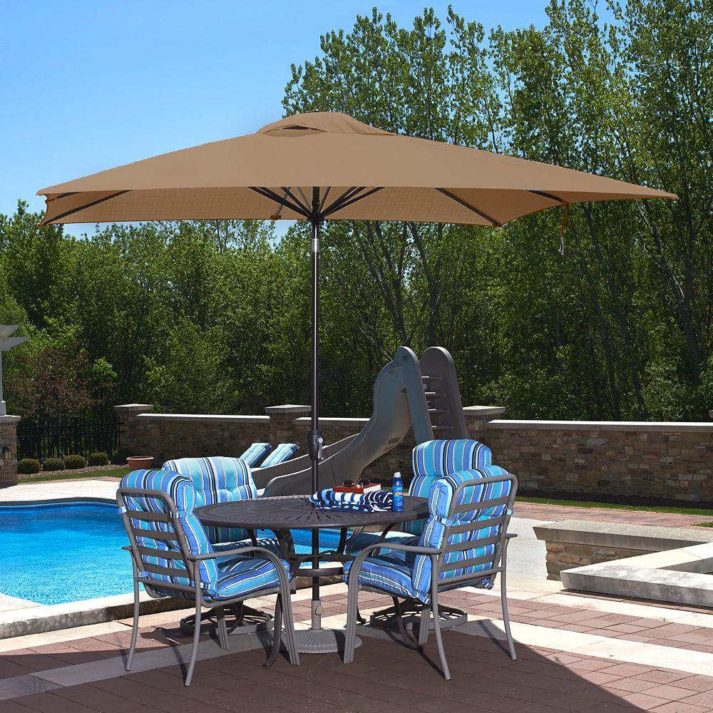 Caspian 8-ft x 10-ft Rectangular Market Umbrella in Stone Sunbrella Acrylic