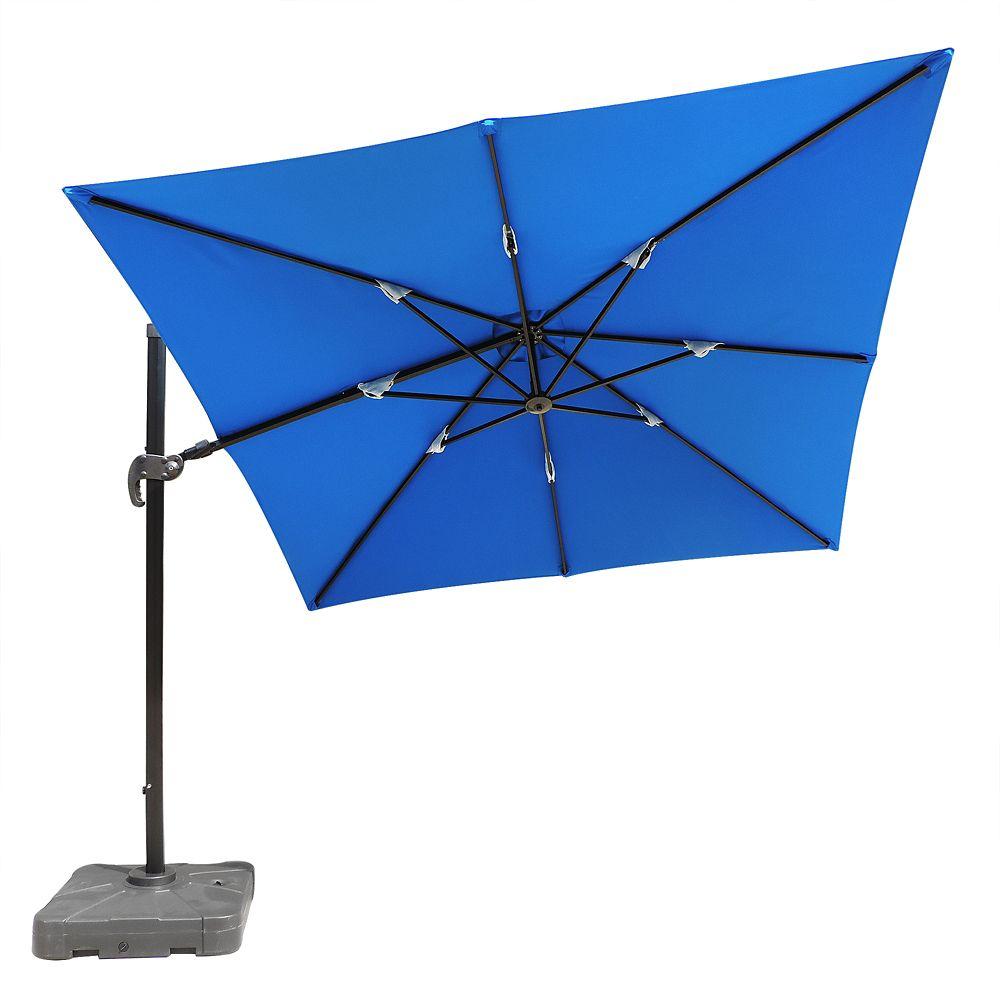 Parasol en porte-à-faux Santorini II carré de 3,05 mètres en acrylique Sunbrella couleur bleu