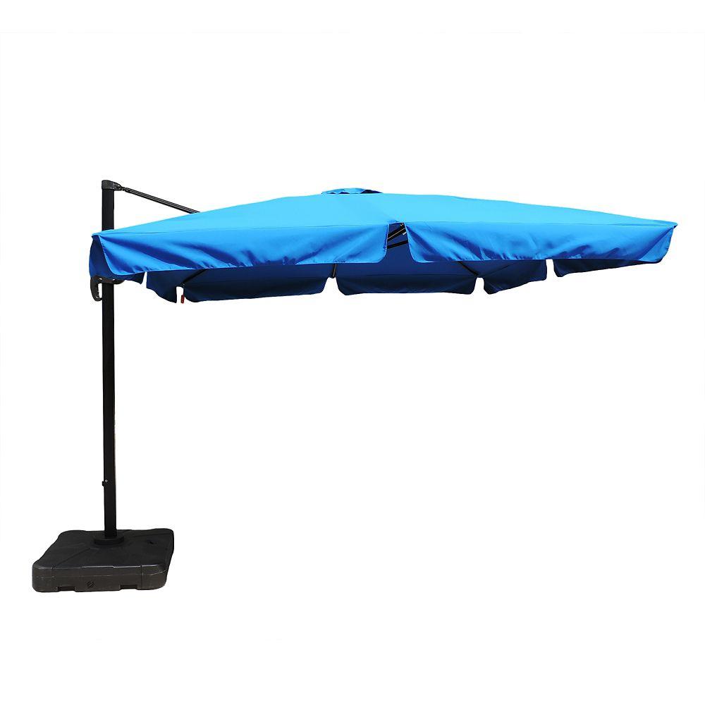 Parasol en porte-à-faux carré de 3,05 mètres avec lambrequin en acrylique Sunbrella couleur bleu