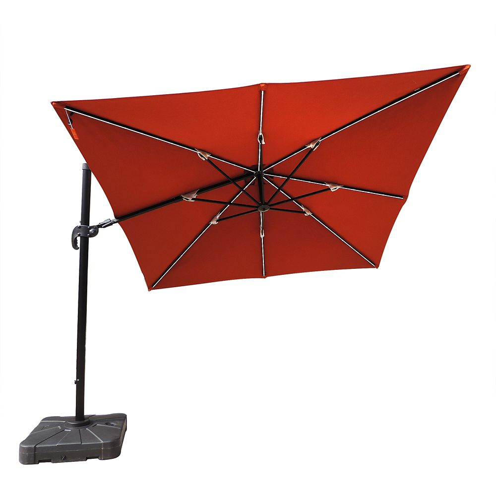 Parasol en porte-à-faux Fiesta carré de 3,05 mètres en acrylique Sunbrella couleur terra cotta