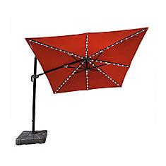 Santorini II Fiesta 10 ft. Square Cantilever Solar Sunbrella Acrylic Patio Umbrella in Terra Cotta