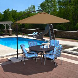 Island Umbrella Santiago 10 ft. Octagonal Cantilever Sunbrella Acrylic Patio Umbrella in Stone