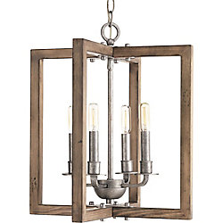 Turnbury Collection Four-Light Chandelier in Galvanized Finish with Distress Wood
