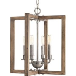 Progress Lighting Turnbury Collection Four-Light Chandelier in Galvanized Finish with Distress Wood