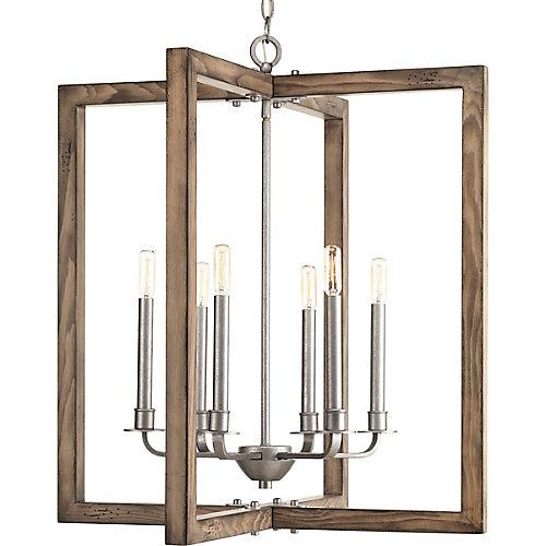 Turnbury collection 6 light galvanized chandelier