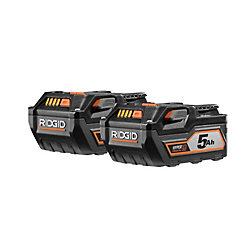 RIDGID 18-Volt Lithium-Ion 5.0Ah Battery (2-Pack)