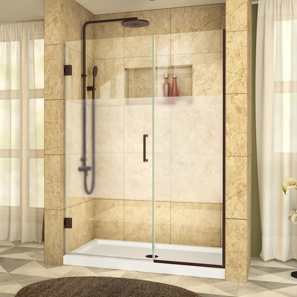 DreamLine Unidoor Plus 52 to 52-1/2-inch x 72-inch Semi-Frameless Hinged Shower Door with Half Frosted Glass in Oil Rubbed Bronze