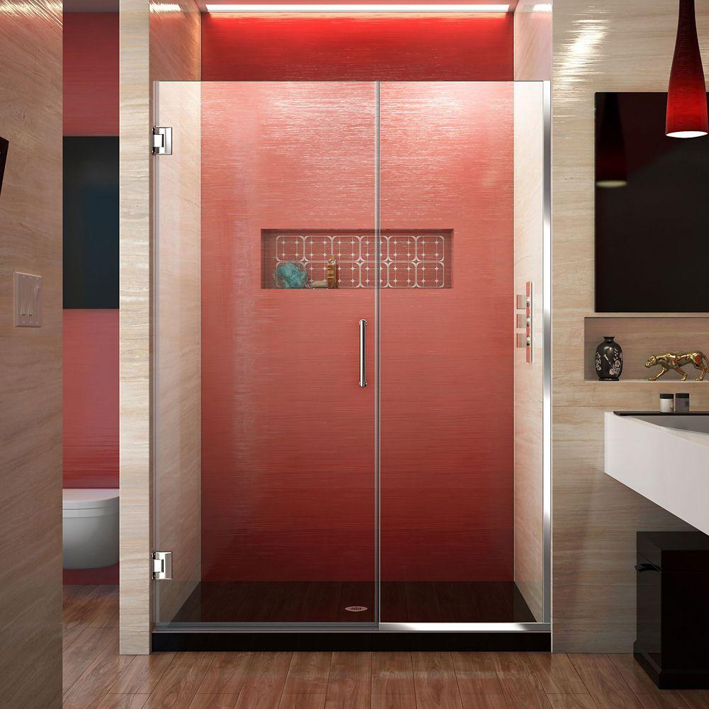 DreamLine Unidoor Plus 52-1/2 to 53-inch x 72-inch Semi-Frameless Hinged Shower Door in Chrome