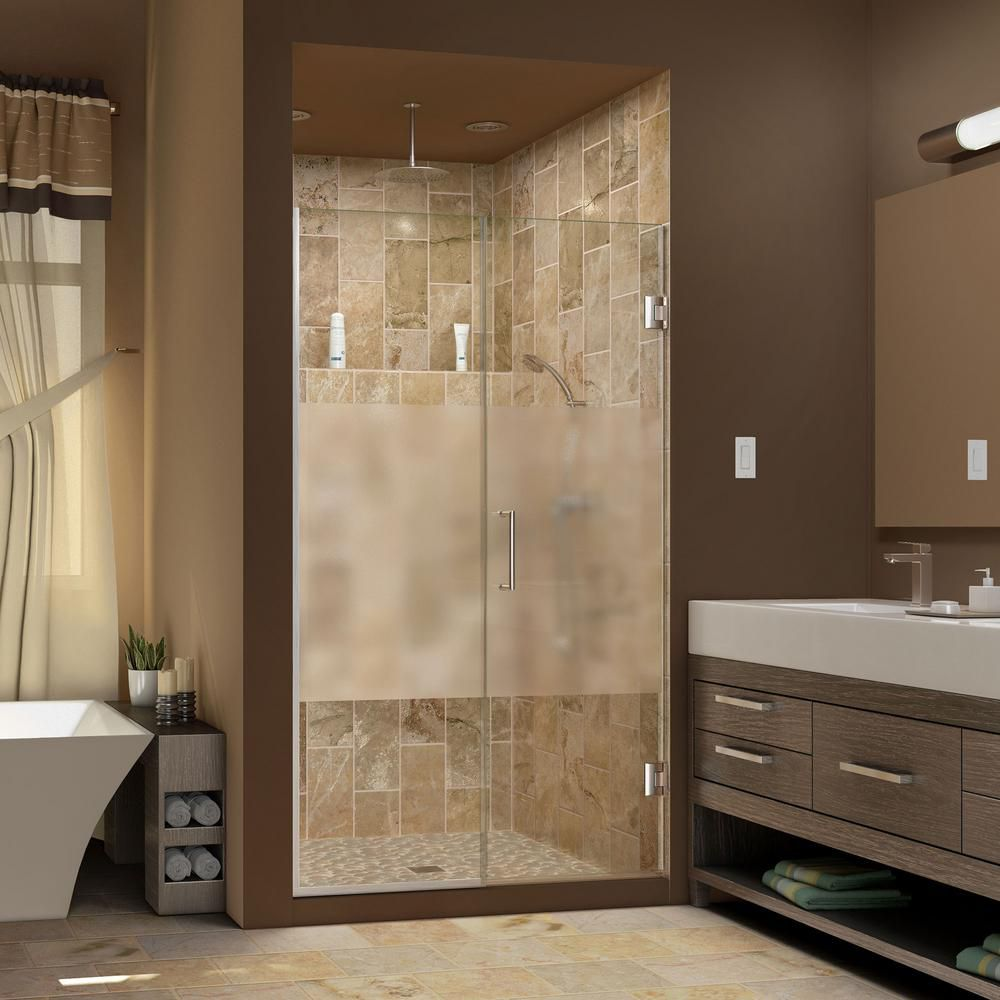 Unidoor Plus 53-1/2 to 54-inch x 72-inch Semi-Frameless Hinged Shower Door with Half Frosted Glass in Brushed Nickel