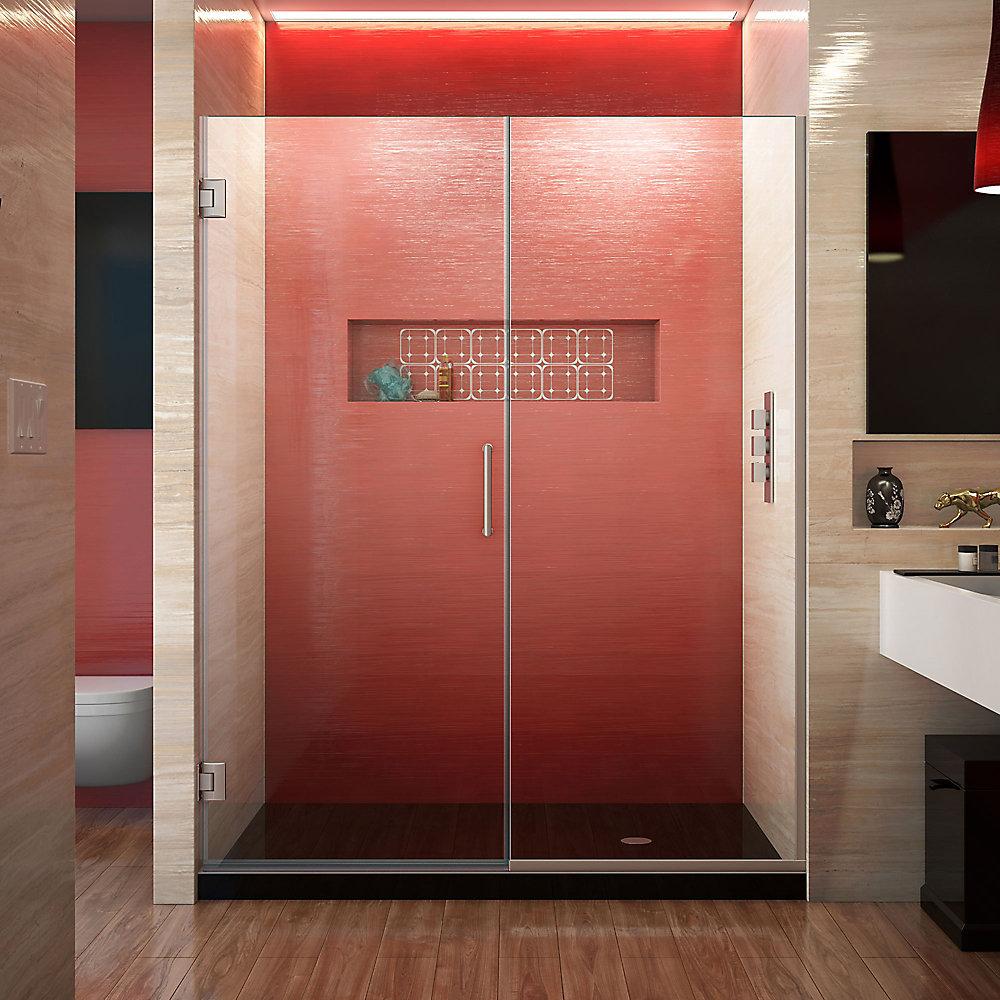 Unidoor Plus 56-1/2-inch to 57-inch x 72-inch Semi-Frameless Pivot Shower Door in Brushed Nickel