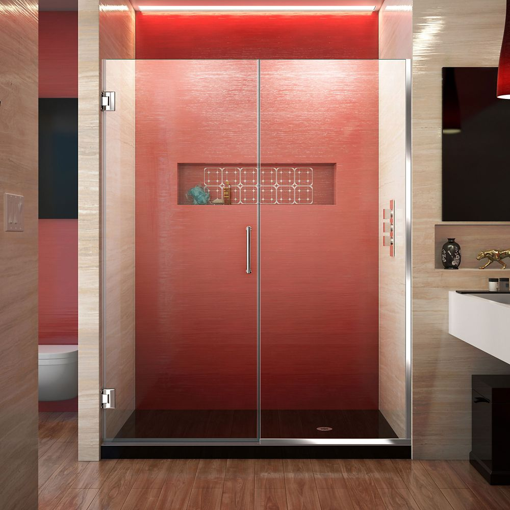 DreamLine Unidoor Plus 57-inch to 57-1/2-inch x 72-inch Semi-Frameless Pivot Shower Door in Chrome with Handle