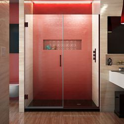 DreamLine Unidoor Plus 57-inch to 57-1/2-inch x 72-inch Semi-Frameless Pivot Shower Door in Oil Rubbed Bronze with Handle