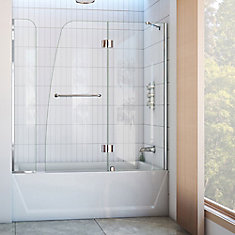 Aqua 56-inch to 60-inch x 58-inch Semi-Frameless Hinged Tub Door with Extender in Chrome