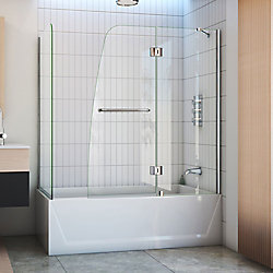 DreamLine Aqua 56-inch to 60-inch x 58-inch Semi-Frameless Hinged Tub Door with Return Panel in Chrome