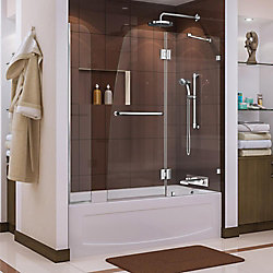 DreamLine Aqua Lux 56 to 60-inch x 58-inch Semi-Frameless Hinged Tub Door with Extender in Chrome