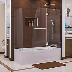 DreamLine Aqua Lux 56 to 60-inch x 58-inch Semi-Frameless Hinged Tub Door in Brushed Nickel