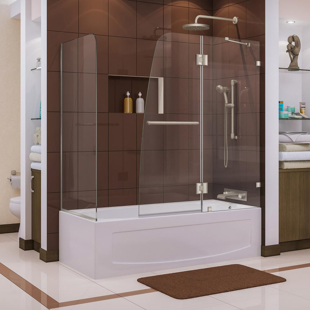 Aqua Lux 56 to 60-inch x 58-inch Semi-Frameless Hinged Tub Door in Brushed Nickel