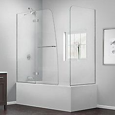 Aqua Ultra 57 to 60-inch x 58-inch Semi-Frameless Hinged Tub Door with Return Panel in Chrome