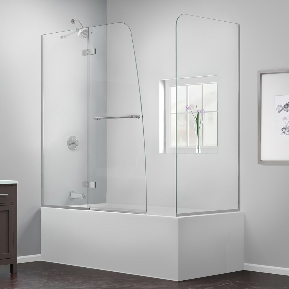 DreamLine Aqua Ultra 57 to 60-inch x 58-inch Semi-Frameless Hinged Tub Door with Return Panel in Chrome
