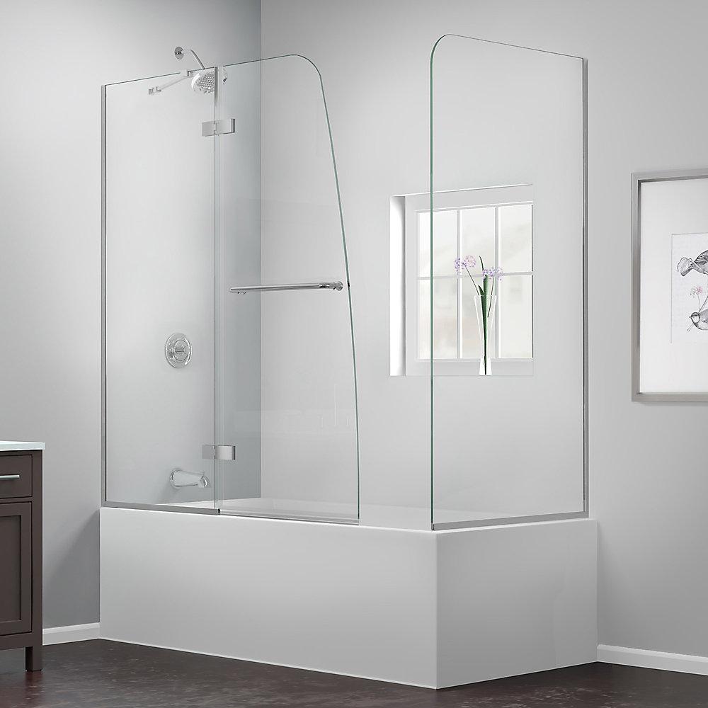 Aqua Ultra 57 to 60-inch x 58-inch Semi-Frameless Hinged Tub Door in Brushed Nickel