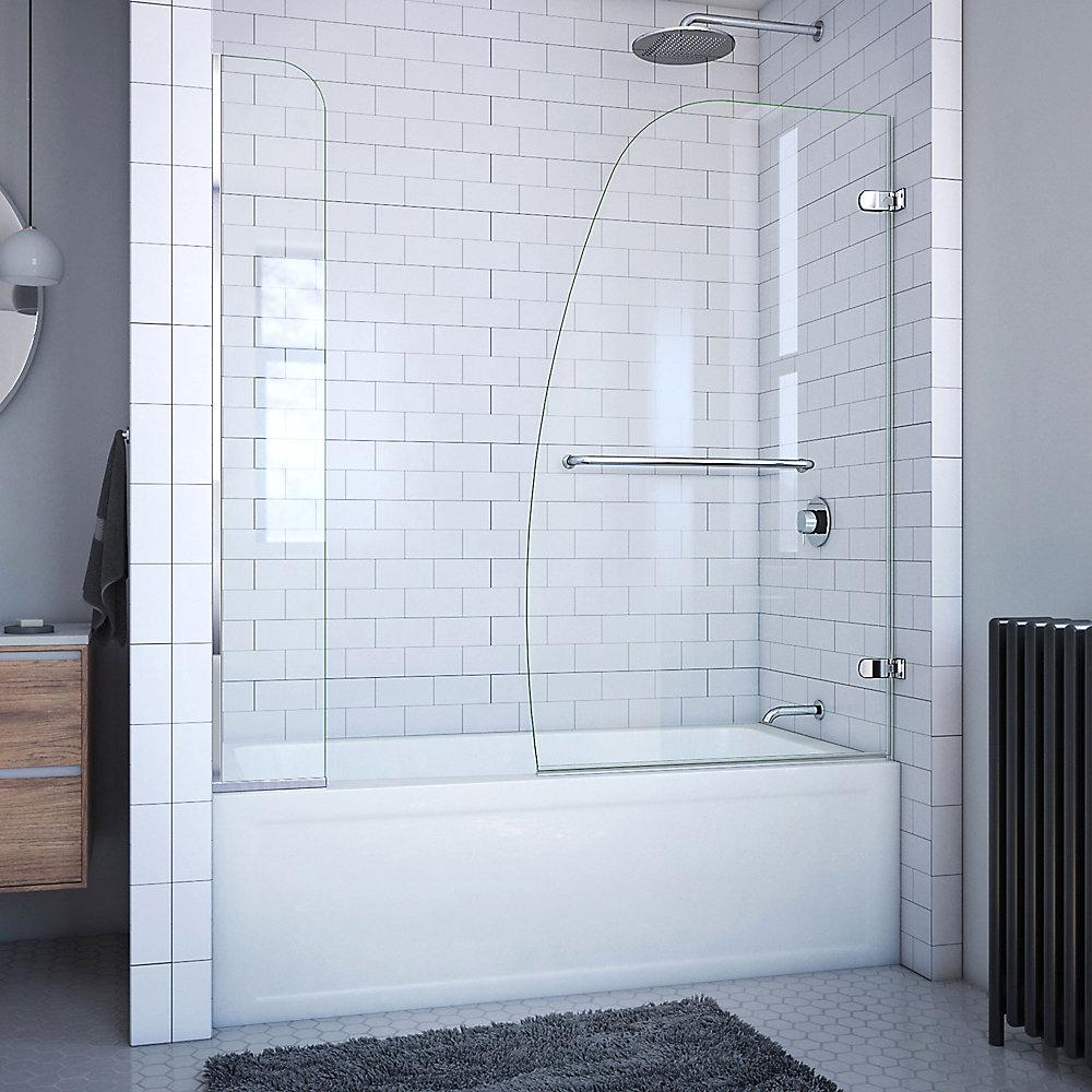 DreamLine Aqua Uno 152 cm x 147 cm Porte de baignoire Articulée Sans cadre, fini Chrome