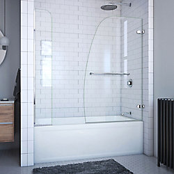 DreamLine Aqua Uno 60-inch x 58-inch Semi-Frameless Hinged Tub/Shower Door with Extender in Chrome