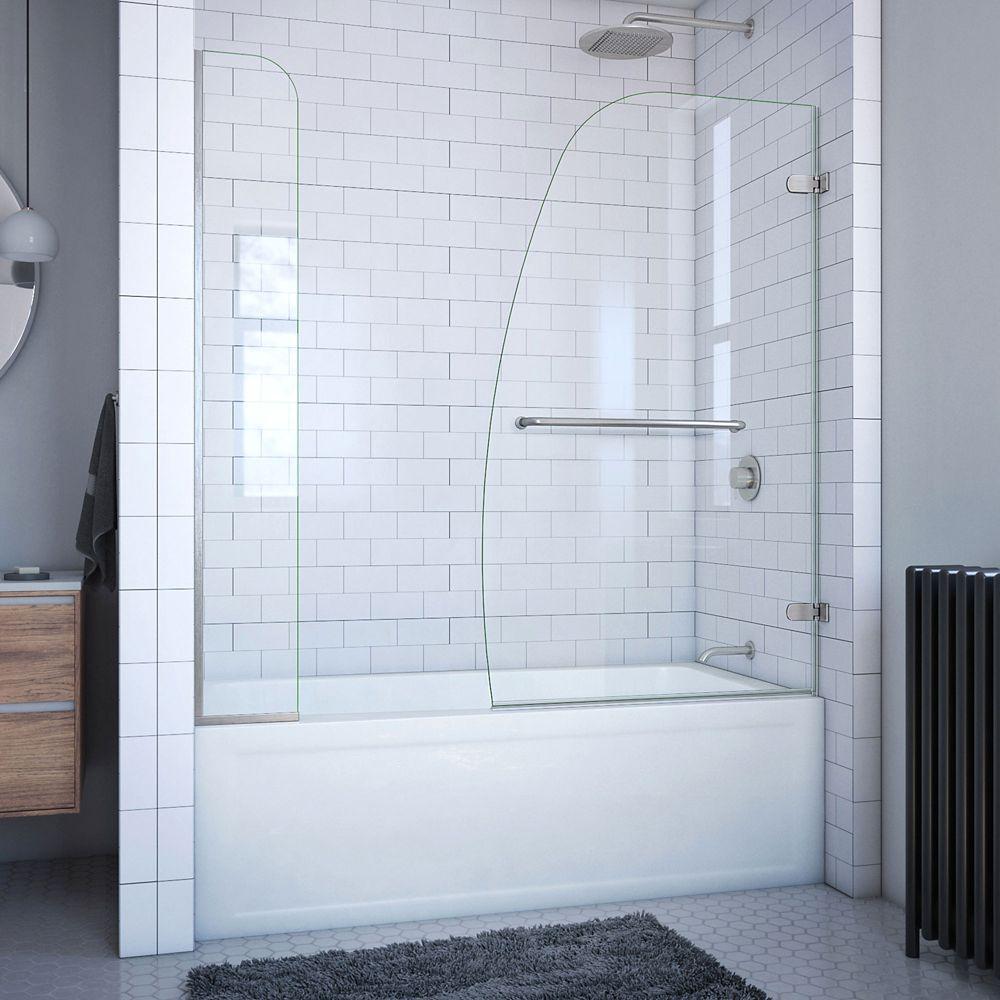DreamLine Aqua Uno 60-inch x 58-inch Semi-Frameless Hinged Tub/Shower Door in Brushed Nickel