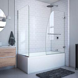 DreamLine Aqua Uno 60-inch x 58-inch Semi-Frameless Hinged Tub/Shower Door with Return Panel in Chrome