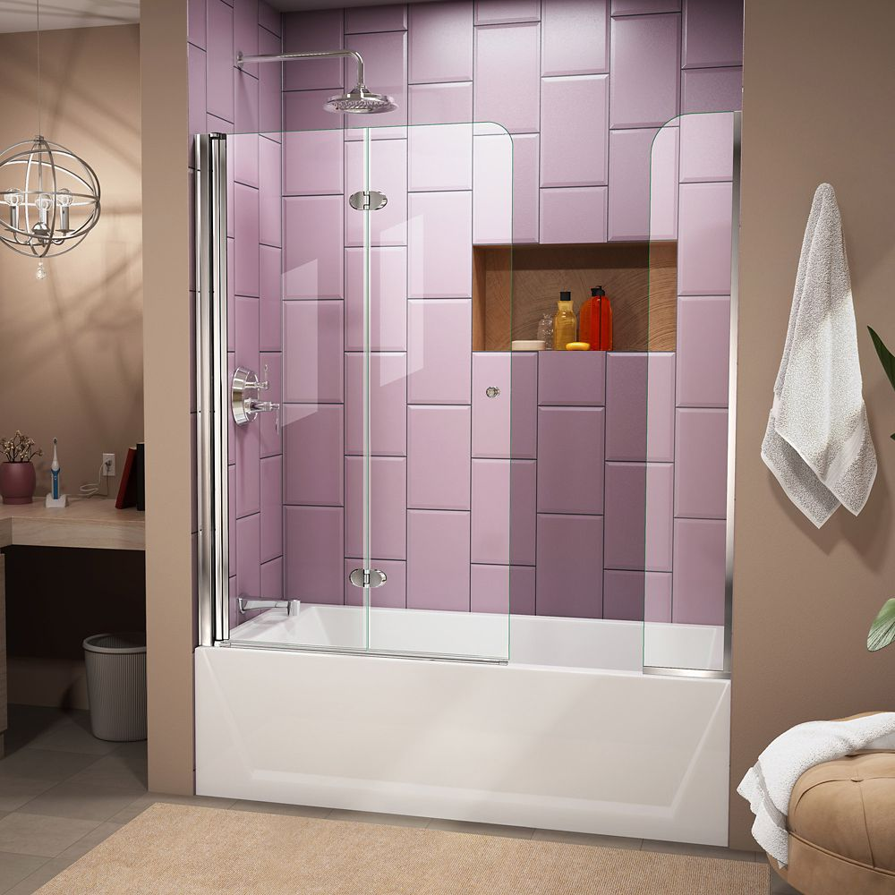 DreamLine Aqua Fold 56-inch to 60-inch x 58-inch Semi-Frameless Hinged Tub Door with Extender in Chrome