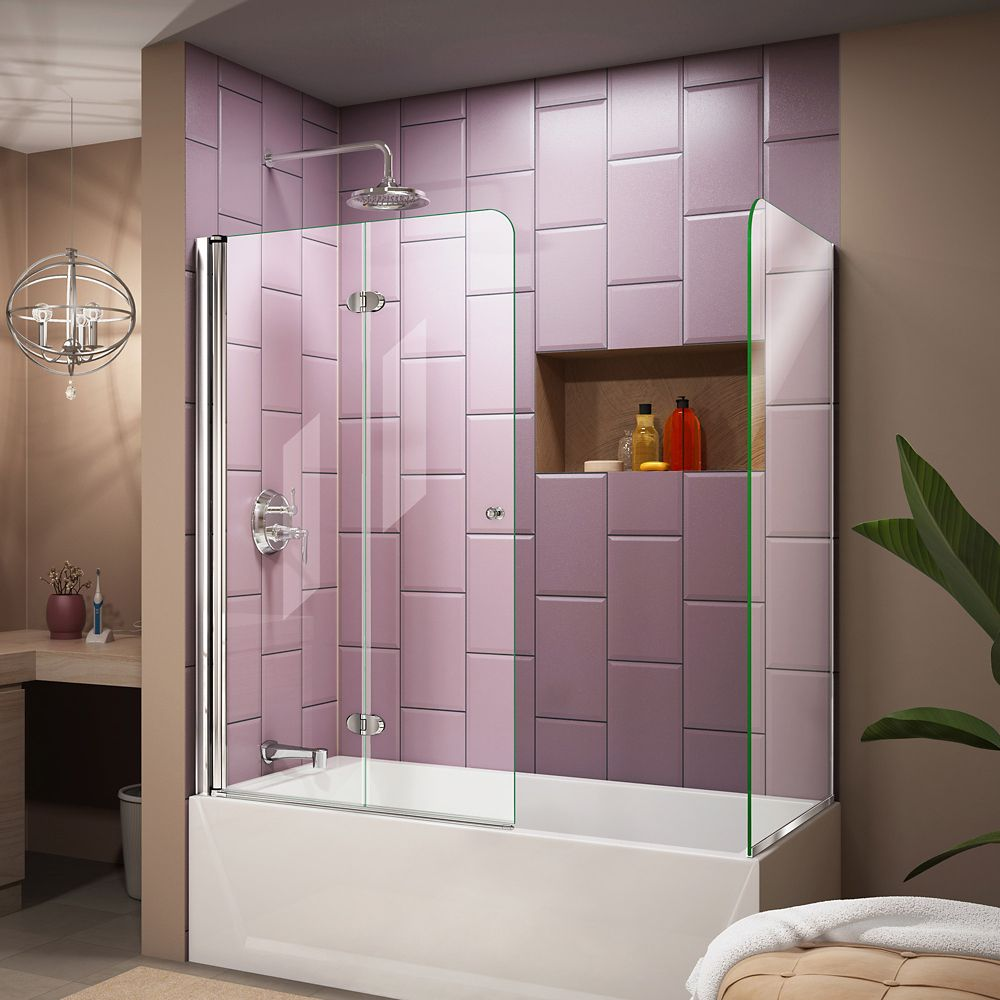 DreamLine Aqua Fold 56-inch to 60-inch x 58-inch Semi-Frameless Hinged Tub Door with Return Panel in Chrome
