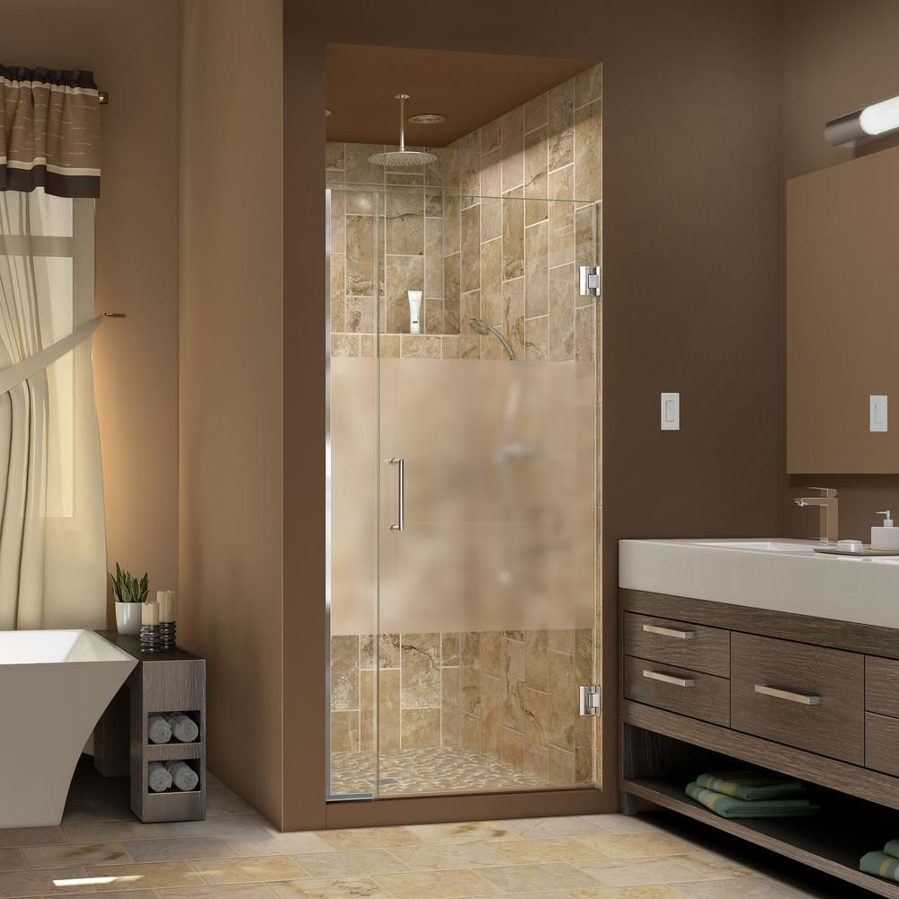 DreamLine Unidoor Plus 34-1/2 to 35 x 72 Semi-Frameless Pivot Shower Door with Half Frosted Glass in Chrome with Handle