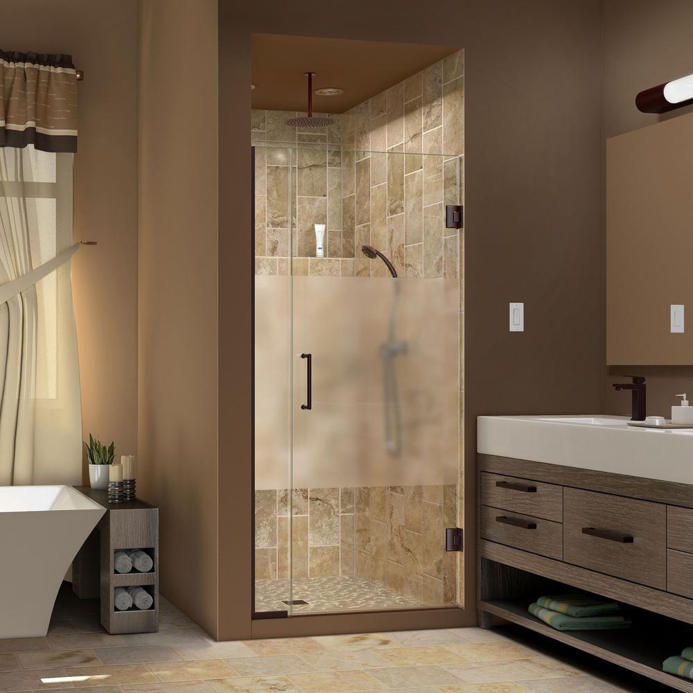 DreamLine Unidoor Plus 34-1/2-inch to 35-inch x 72-inch Semi-Frameless Pivot Shower Door in Oil Rubbed Bronze with Handle